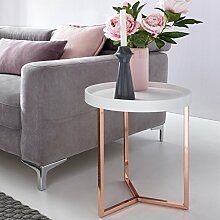 Design Beistelltisch GIVE mit Tablett Weiß abnehmbar 40 cm Rund Kupfer | Couchtisch Holz | Wohnzimmertisch als Tabletttisch Modern