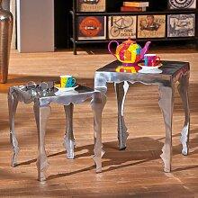 Design Beistelltisch in Silber Aluminium (2-teilig)