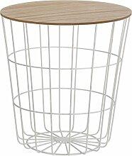 Design Beistelltisch - Metall Korb mit Holz Deckel