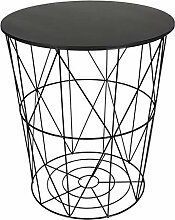 Design Beistelltisch schwarz - Metall Drahtkorb
