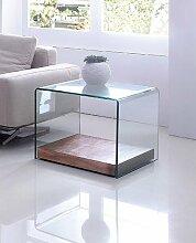 Design Beistelltisch Wood Cube aus Glas klar | 60