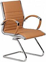 Design Besucherstuhl Echt Leder Caramel für Büro | Konferenzstuhl mit Armlehnen - Bis 120 KG | Freischwinger Stuhl ergonomisch gepolster