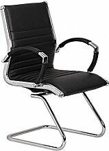 Design Besucherstuhl Echt Leder Schwarz für Büro | Konferenzstuhl mit Armlehnen - Bis 120 KG | Freischwinger Stuhl ergonomisch gepolster