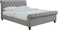 Design-Bett 2 Personen 160 cm x 200 cm Leinen Grau