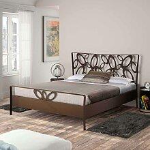 Design Bett in Braun Metall