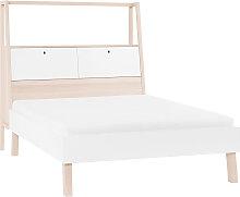 Design-Bett mit Stauraum 160x200 cm Holz und Weiß