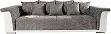 Design Big XL Sofa BELLINA hellgrau Strukturstoff