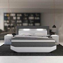 Design Boxspringbett in Grau und Weiß LED