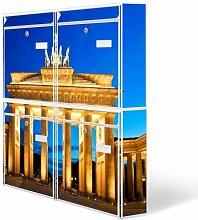 Design Briefkasten Anlage 4 Briefkästen Mailbox mit Motiv: Brandenburger Tor