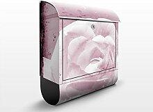 Design Briefkasten Antique Pink | Blumen Blüten Rose, Postkasten mit Zeitungsrolle, Wandbriefkasten, Mailbox, Letterbox, Briefkastenanlage, Dekorfolie