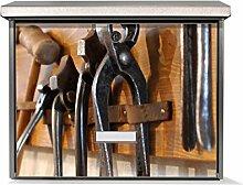 Design Briefkasten Edelstahl, Designer Burg-Wächter Wandbriefkasten kaufen, für A4 Post, rostfrei, Briefkastenschloss 2 Schlüssel, von Banjado Motiv Werkbank