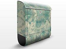 Design Briefkasten Eisblumen | Winter Floral Dekoration Schnee, Postkasten mit Zeitungsrolle, Wandbriefkasten, Mailbox, Letterbox, Briefkastenanlage, Dekorfolie