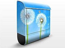 Design Briefkasten Flying Seeds | Himmel Pusteblumen Frühling, Postkasten mit Zeitungsrolle, Wandbriefkasten, Mailbox, Letterbox, Briefkastenanlage, Dekorfolie