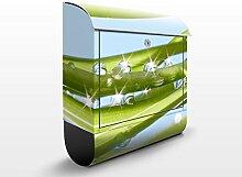 Design Briefkasten Fresh Green | Natur Wasser Tropfen Blätter Pflanze, Postkasten mit Zeitungsrolle, Wandbriefkasten, Mailbox, Letterbox, Briefkastenanlage, Dekorfolie