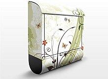 Design Briefkasten Frühlingszeit | Natur Blumen Blüten Ornamental, Postkasten mit Zeitungsrolle, Wandbriefkasten, Mailbox, Letterbox, Briefkastenanlage, Dekorfolie