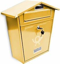 Design Briefkasten mit Dach und Posthorn Metall Gold