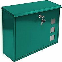 Design Briefkasten mit Dekor-Fenster Metall Grün