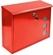 Design Briefkasten mit Dekor-Fenster Metall Ro