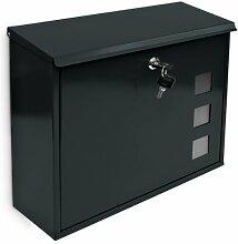 Design Briefkasten mit Dekor-Fenster Metall Schwarz