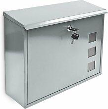 Design Briefkasten mit Dekor-Fenster Metall Silber