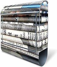 Design Briefkasten mit Zeitungsfach, Designer Motivbriefkasten mit Zeitungsrolle kaufen, für A4 Post, groß, bunt, Briefkastenschloss 2 Schlüssel, von banjado Motiv Zeitungen