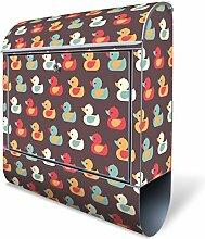 Design Briefkasten mit Zeitungsfach, Designer Motivbriefkasten mit Zeitungsrolle kaufen, für A4 Post, groß, bunt, Briefkastenschloss 2 Schlüssel, von banjado Motiv Entchen