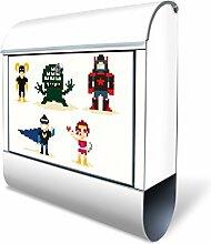 Design Briefkasten mit Zeitungsfach, Designer Motivbriefkasten mit Zeitungsrolle kaufen, für A4 Post, groß, bunt, Briefkastenschloss 2 Schlüssel, von banjado Motiv Superhelden