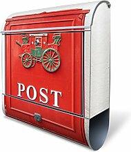 Design Briefkasten mit Zeitungsfach, Designer Motivbriefkasten mit Zeitungsrolle kaufen, für A4 Post, groß, bunt, Briefkastenschloss 2 Schlüssel, von banjado Motiv Postkasten Nostalgie