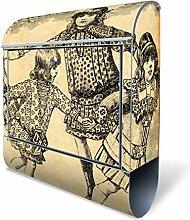 Design Briefkasten mit Zeitungsfach, Designer Motivbriefkasten mit Zeitungsrolle kaufen, für A4 Post, groß, bunt, Briefkastenschloss 2 Schlüssel, von banjado Motiv Ringelreih