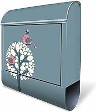 Design Briefkasten mit Zeitungsfach, Designer Motivbriefkasten mit Zeitungsrolle kaufen, für A4 Post, groß, bunt, Briefkastenschloss 2 Schlüssel, von banjado Motiv Zwei Rosa Vögel