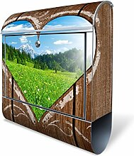 Design Briefkasten mit Zeitungsfach, Designer Motivbriefkasten mit Zeitungsrolle kaufen, für A4 Post, groß, bunt, Briefkastenschloss 2 Schlüssel, von banjado Motiv Ausblick mit Herz