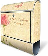 Design Briefkasten mit Zeitungsfach, Designer Motivbriefkasten mit Zeitungsrolle kaufen, für A4 Post, groß, bunt, Briefkastenschloss 2 Schlüssel, von banjado Motiv personalisiert Beschriftung Hausnummer Name Motiv Romantik