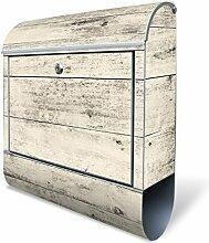 Design Briefkasten mit Zeitungsfach, Designer Motivbriefkasten mit Zeitungsrolle kaufen, für A4 Post, groß, bunt, Briefkastenschloss 2 Schlüssel, von banjado Motiv Weiße Planken H