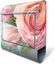 Design Briefkasten mit Zeitungsfach, Designer Motivbriefkasten mit Zeitungsrolle kaufen, für A4 Post, groß, bunt, Briefkastenschloss 2 Schlüssel, von banjado Motiv Rosa Tulpe