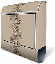 Design Briefkasten mit Zeitungsfach, Designer Motivbriefkasten mit Zeitungsrolle kaufen, für A4 Post, groß, bunt, Briefkastenschloss 2 Schlüssel, von banjado Motiv Baumwollblüte Monochrom