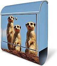 Design Briefkasten mit Zeitungsfach, Designer Motivbriefkasten mit Zeitungsrolle kaufen, für A4 Post, groß, bunt, Briefkastenschloss 2 Schlüssel, von banjado Motiv Erdmännchenfamilie