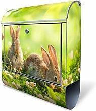 Design Briefkasten mit Zeitungsfach, Designer Motivbriefkasten mit Zeitungsrolle kaufen, für A4 Post, groß, bunt, Briefkastenschloss 2 Schlüssel, von banjado Motiv Drei Hasen