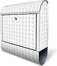 Design Briefkasten mit Zeitungsfach, Designer Motivbriefkasten mit Zeitungsrolle kaufen, für A4 Post, groß, bunt, Briefkastenschloss 2 Schlüssel, von banjado Motiv Waffel Muster