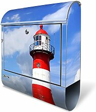 Design Briefkasten mit Zeitungsfach, Designer Motivbriefkasten mit Zeitungsrolle kaufen, für A4 Post, groß, bunt, Briefkastenschloss 2 Schlüssel, von banjado Motiv Leuchtturm Westkapelle