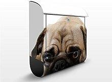 Design Briefkasten Mopsig | Haustiere Hunde Welpe Hunderasse Freunde, Postkasten mit Zeitungsrolle, Wandbriefkasten, Mailbox, Letterbox, Briefkastenanlage, Dekorfolie