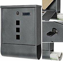 Design Briefkasten Namenschild Zeitungsrolle Dunkelgrau Wandbriefkasten Mailbox