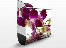 Design Briefkasten Pink Orchid Waters | Pflanzen Natur Spiegel Blüten, Postkasten mit Zeitungsrolle, Wandbriefkasten, Mailbox, Letterbox, Briefkastenanlage, Dekorfolie