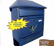 Design Briefkasten W blau dunkelblau metall