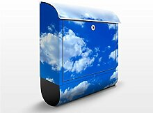 Design Briefkasten Wolkenhimmel | Wolken Himmel Blau, Postkasten mit Zeitungsrolle, Wandbriefkasten, Mailbox, Letterbox, Briefkastenanlage, Dekorfolie