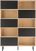 Design-Bücherregal aus Holz mit schwarzen