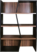 Design-Bücherregal dunkles Holz und schwarz SAGAN