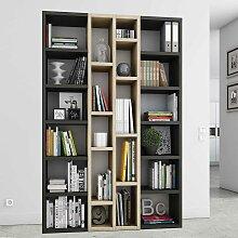 Design Bücherregal in Eiche Schwarz Braun Beige