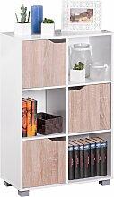 Design Bücherregal Modern Holz Weiß mit Türen
