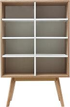 Design-Bücherregal skandinavisch Eiche und Weiß