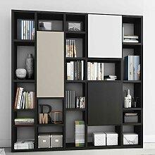 Design Bücherwand in Eiche Schwarz Braun Türen